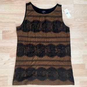 NWT Loft Black & Brown Lace Tank Top